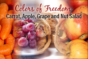 Colors of Freedom: Carrot, Apple, Grape and Nut Salad