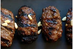 Beef kebabs in date and pomegranate molasses